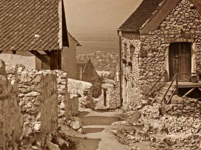 rural, village, romania, street, descend, old, aged, sat, vechi, strada, vale, coborare