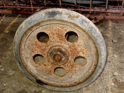 old, wheels, rust, rugina, round