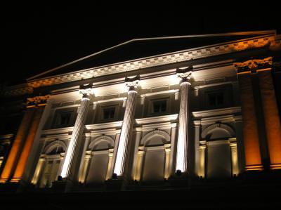 building, noapte, opera, house, columns, coloane, stalpi, iluminat, lights, lumina