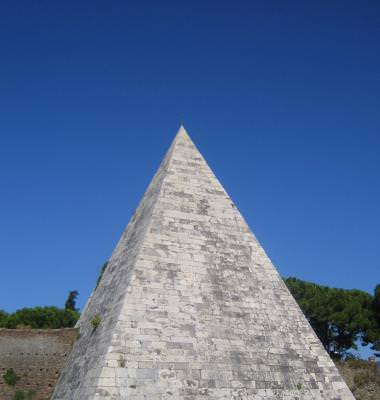 pyramid, funurary, monument, shape, geometry, 3d, italy, marble, white, sky, blue, roman, rome, of, Cestius, Rome, piramida, italia, marmura, geometrie, alba, cer