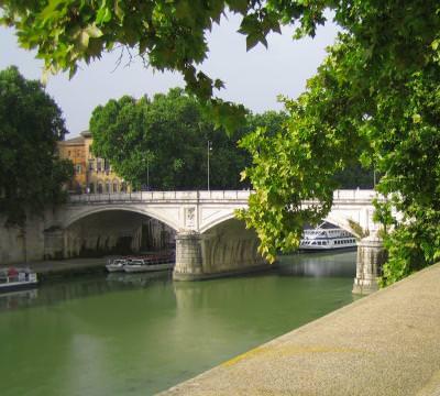 bridge, Rome, Italy, river, ships, boats, water, green, view, pod, apa, rau, Roma, Italia, verde