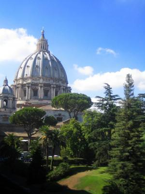 Saint, Peters, dome, place, garden, trees, Rome, Italy, Vatican, roman, sky, clouds, sfantul, Petru, Roma, Italia, copaci, gradina, cer, nori