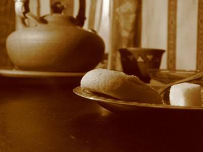 ceai, ceainic, cub de zahar, sepia