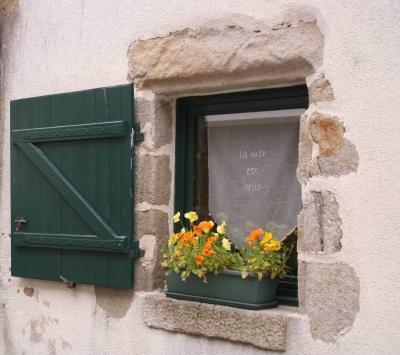 Fereastra, mare, ocean, Atlantic, Bretania, Franta, sarm, port, harbour, sea, window, flowers, flori,