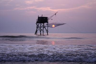 apus, soare, Atlantic, Franta, Bretania, plaja, ocean, pescar, pescuit, sunset, sun, beach, fishing