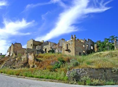 ruine, ruina, ruins, building, cer, sky, drum, road