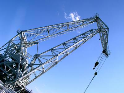macara, crane, blue sky, sky, blue,
