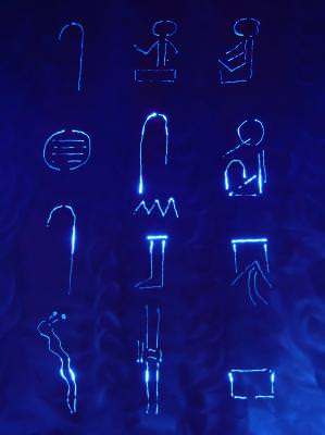 blue, albastru, hieroglife, simboluri, symbols, abstract, background, signs, semne, blue, albastru, reflection, neon,