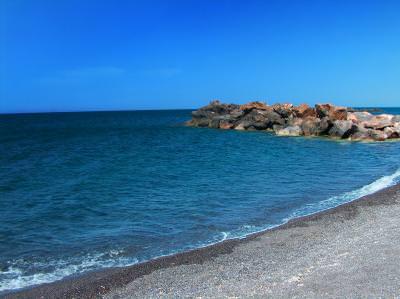 breakwater, sea, water, beach, waterside, blue, plaja, dig, mal, mare