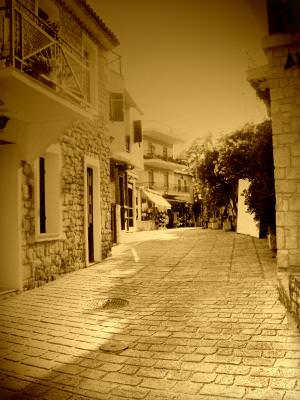 rural, village, greece, street, old, aged, aphitos, sat, vechi, strada, grecia, greece,