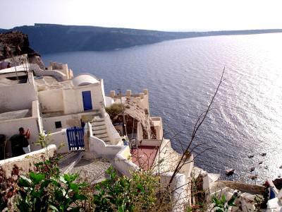 pergos santorin, sea, mare, ocean, greece, grecia, sun, hot, cer, blue, sky, flowers, buildings,white, alb, holliday, vacanta