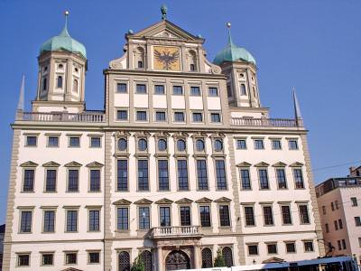 augsburg, primaria, city hall, sun, hot, cer, blue, sky, buildings,white, alb, holliday, vacanta