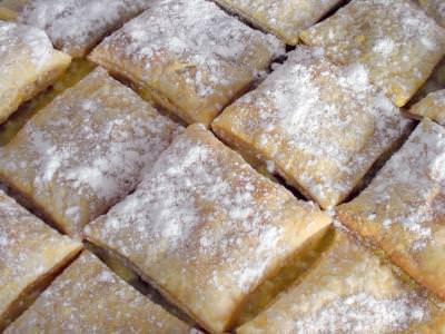 creamy, pastry, cook, sugar, cream, yellow, taste, tasty, delicious, eat, food, pieces, sweet, dulce, placinta