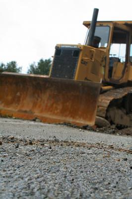 road, roadway, construction, contractor, asphalt, bulldozer, heavy, machinery, equipment, outside, outdoors, color, Pennsylvania, push, ground, yellow, galben, tractor, senile,