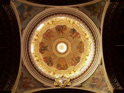 church, cupola, paintng, art,architecture, baroque, gozo, malta, qala, st.joseph, saint, catholic, church, sanctuary, old, gianni vella, gold