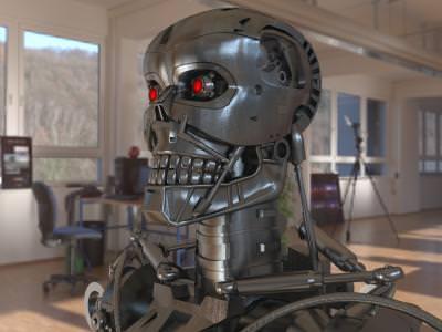 robot, terminator, t3, mechanic, red, eyes, ochi,