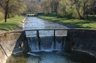 bridge, river, rymanów, water, running. dam, flowing, pouring, apa, blue, h2o, across, peste,