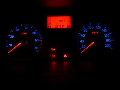 dacia, logan, bord, light, led, leds, red, blue, display, turometru, speed, indicators,
