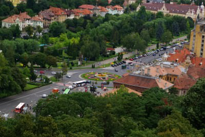 brasov, city, places, panoramas, houses, clear, blue sky, romania, landscapes, aerial, view