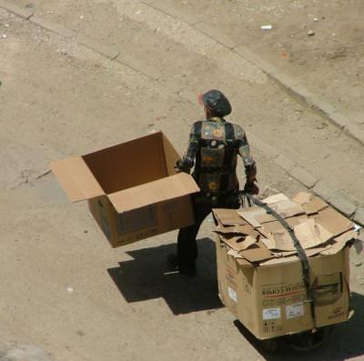 carton, cartboard, poor people, millionare,