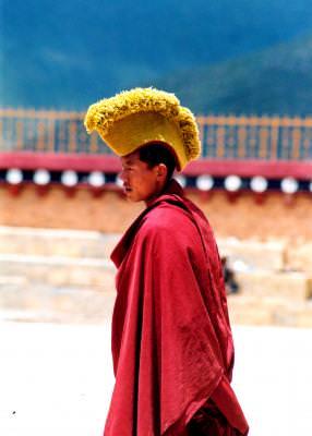 monk, calugar, secta, yellow, bonnet, boneta, galben, rosu