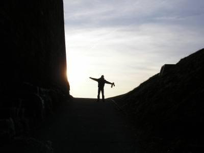 fericire, om, apus, inalt, sunset, man, standing, light, lumina
