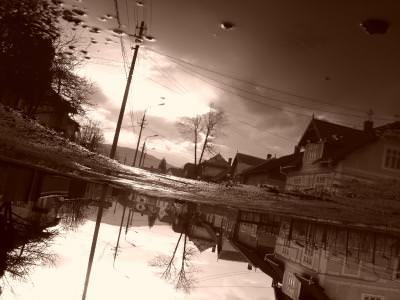water, experiment, sepia, texture, landscape, village,