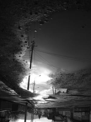 rain, road, reflection, landscape, village, black, wite, alb, negru