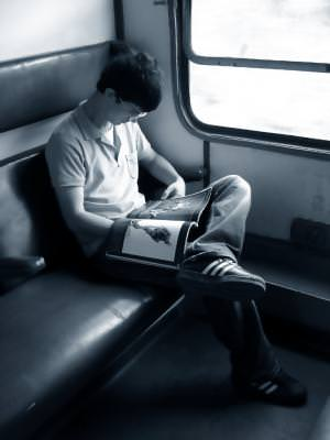 travel, train, reading, man, alb, negru, black, white,