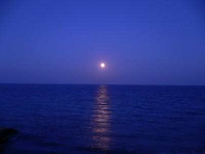 Moonrise,night,sea,Greece,Paralia Katerini