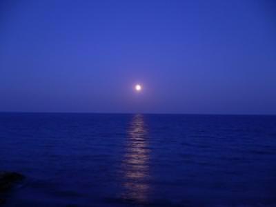 Moonrise,night,sea,Greece,Paralia Katerini
