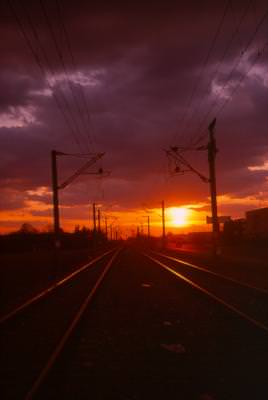 railway, sunset, apus, sina, tren, apus, ireal, transport, tren, cele, ferata, nori, cer, nature, industrie, transportation, train, sky, clouds