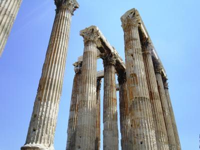 columns, coloane, cer, blue, sky, albastru, grecia, greece, dorin, corinthian, dorice, corint