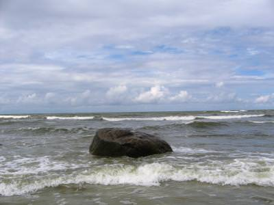 stone, sea, baltic, waves, sky, clouds