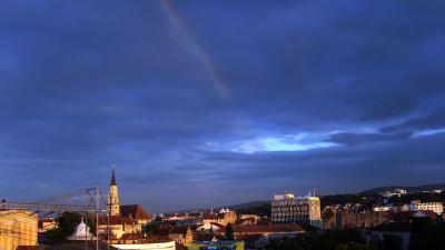 Cluj, Napoca, Ardeal, Transilvania, Rainbow, Curcubeu, Clouds, Nori, Seara, Evening, Dusk